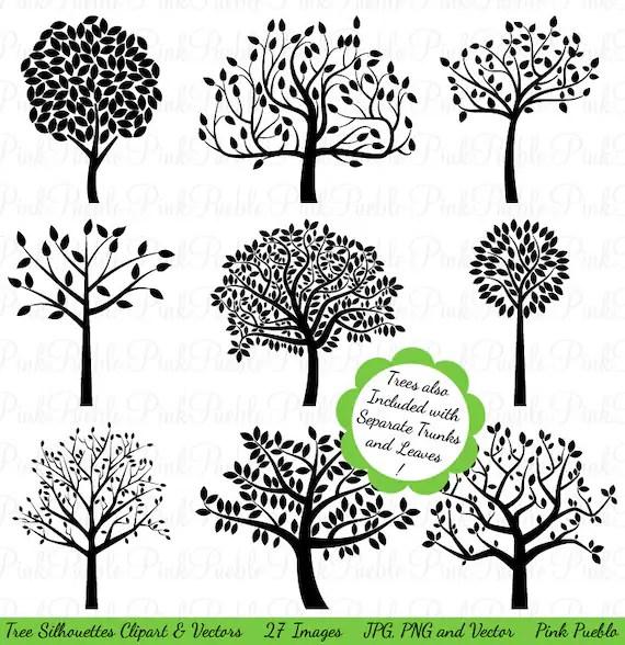 Tree Silhouettes Clipart Clip Art Family Tree Clipart Clip Etsy