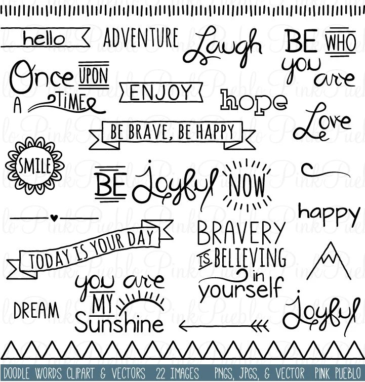 Doodle Words Clipart Clip Art Typography Word Subway Art Clip Etsy