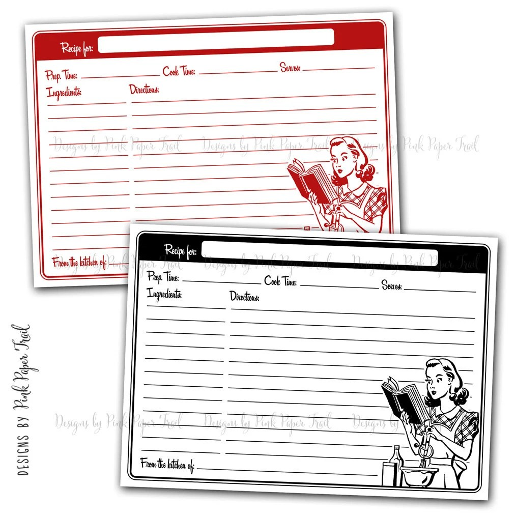 Retro Recipe Card Template, Instant Download, Black and Red, Instant