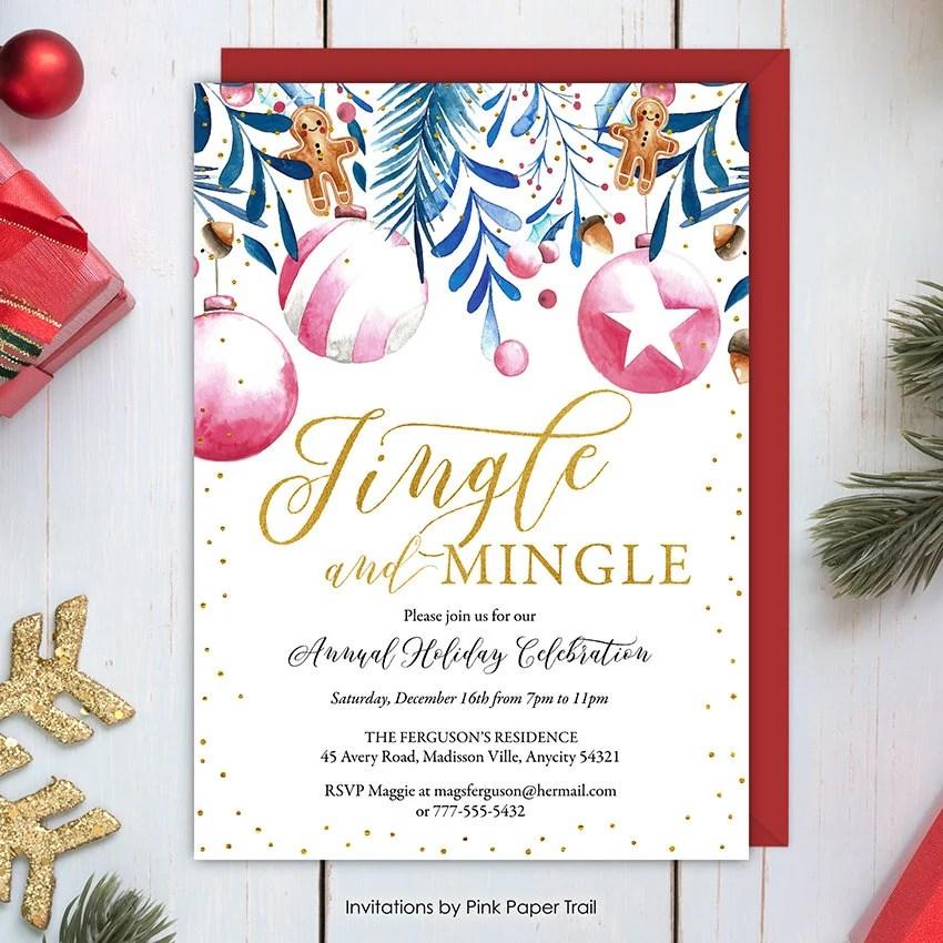 Christmas Party Invitation, Jingle and Mingle Holiday Celebration