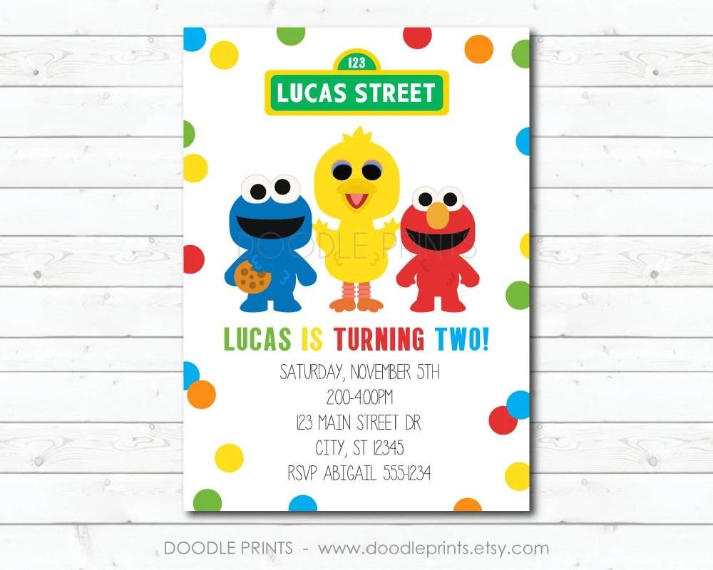 Sesame Street Invitation, Elmo Big Bird Cookie Monster Birthday