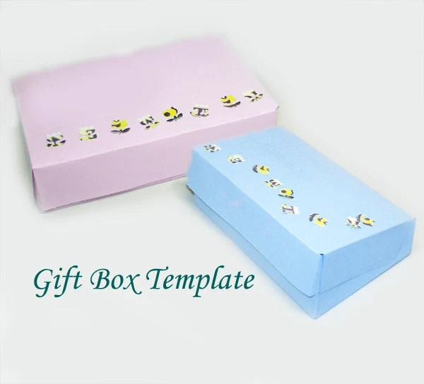 Printable Rectangular Jewelry Gift Box Template Hinged Lid Etsy