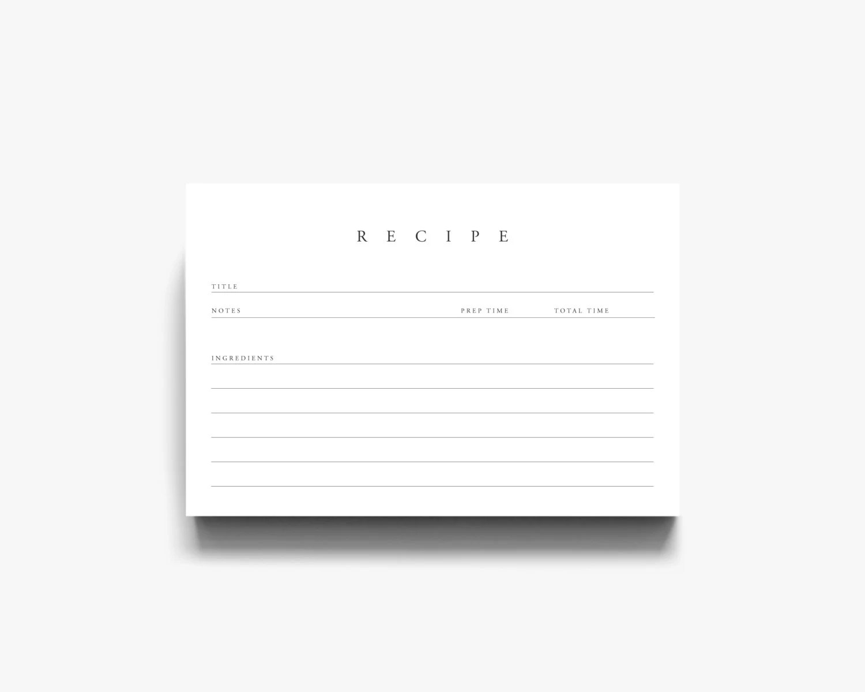 Printable Recipe Cards Recipe Card Template Recipe Cards Etsy