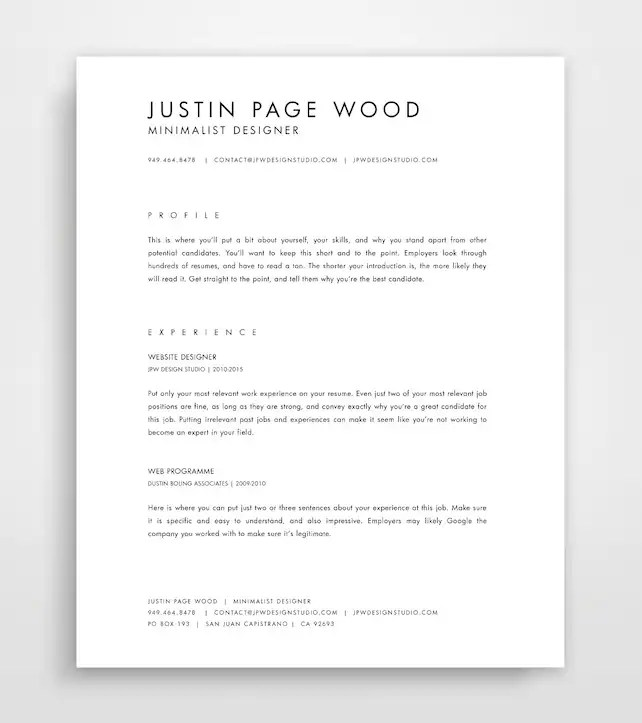 CV Template Simple Resume Template Professional Resume Etsy - simple it resume