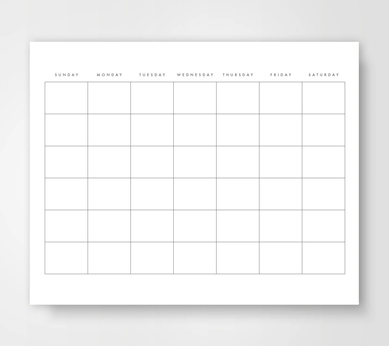 Blank Calendar Calendar Printable Simple Calendar Journal Etsy