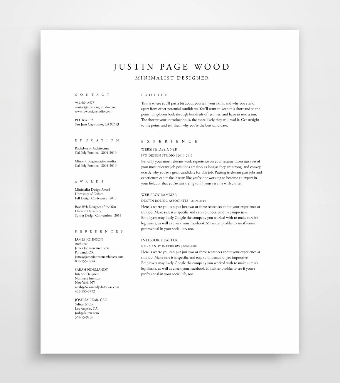 Traditional Resume Template Elegant Resume Classic Resume Etsy