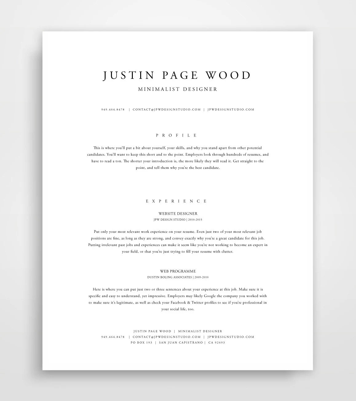Classic Resume Resume Template Instant Download Resume and Etsy