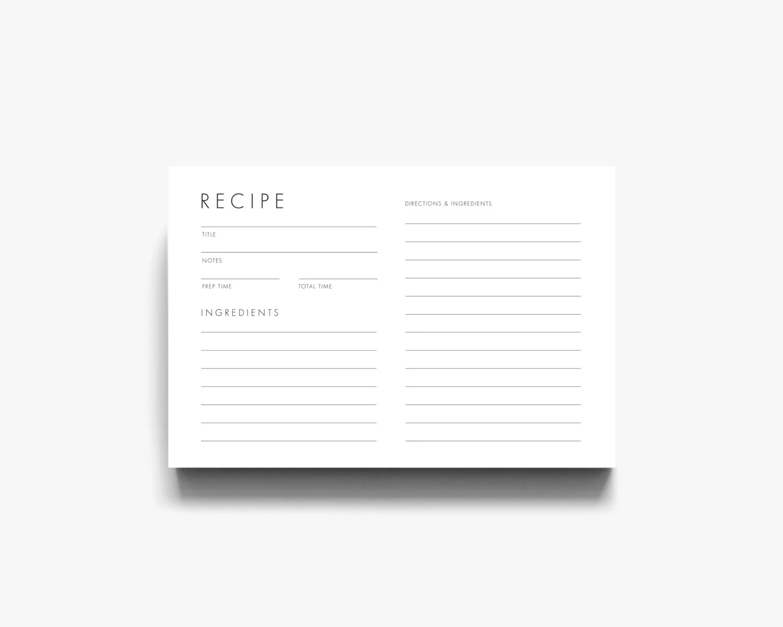 Modern Recipe Card Downloadable Recipe Card Printable Recipe Etsy