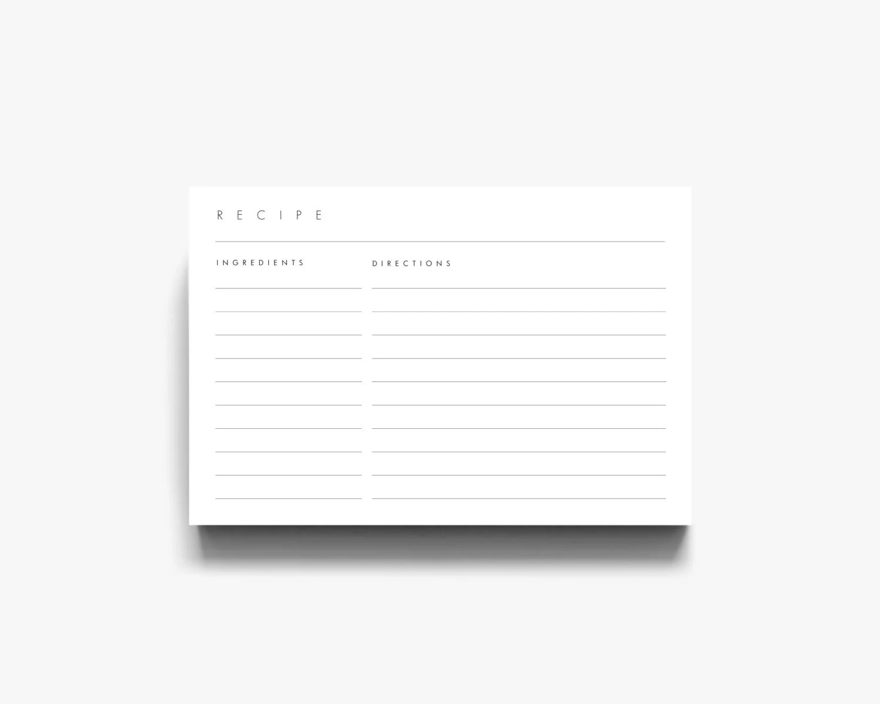 4x6 Recipe Template 3x5 Recipe Cards Recipe Card Template Etsy