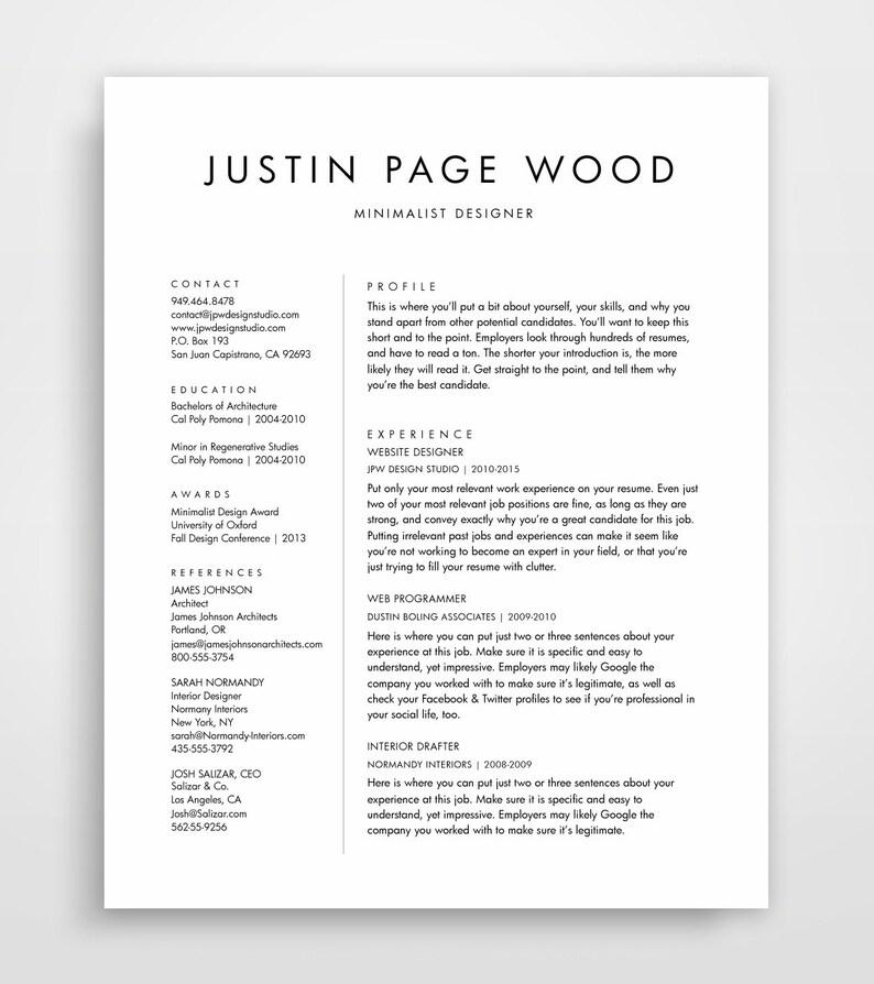 Simple Resume Template Clean Resume Simple Resume Resume Etsy