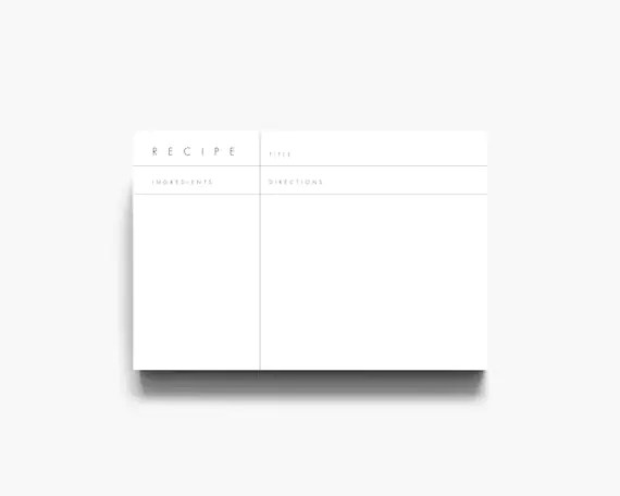 Recipe Template Recipe Cards Printable Recipe Cards Modern Etsy