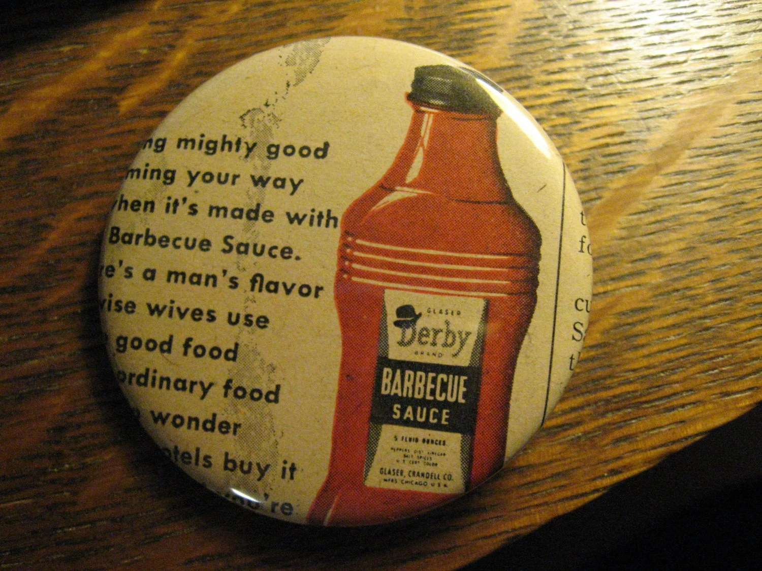 Vintage Gläser Derby Bbq Sauce Pin Vintage 1946 Re Purposed Glaser Derby Barbecue Sauce Chicago Magazine Advertisement Ad Lapel Button Free Usa Shipping