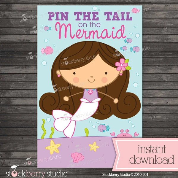 Pin the Tail on the Mermaid Printable Party Games Mermaid Etsy
