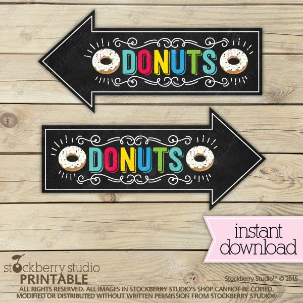 Donuts Bar Arrow Signs - Donuts Sold Here - Donuts Sign Printable