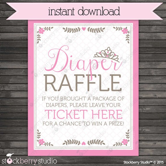 Princess Baby Shower Diaper Raffle Ticket Sign - Instant Download
