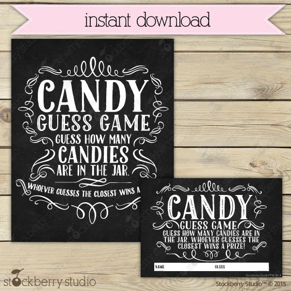 Chalkboard Baby Shower Candy Guessing Game Printable - Instant