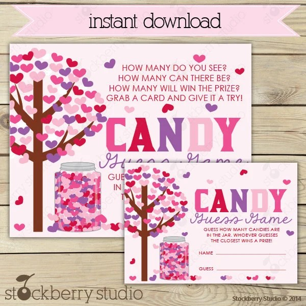 Valentine\u0027s Day Candy Guessing Game Printable Instant Etsy