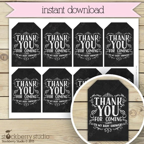 Chalkboard Baby Shower Thank You Tags Printable - Black Baby Shower