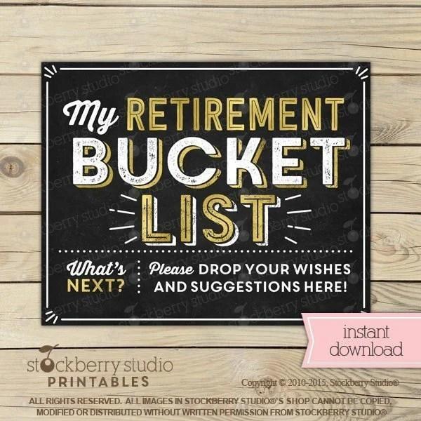 Retirement Bucket List Sign Printable Retirement Party Guest Etsy