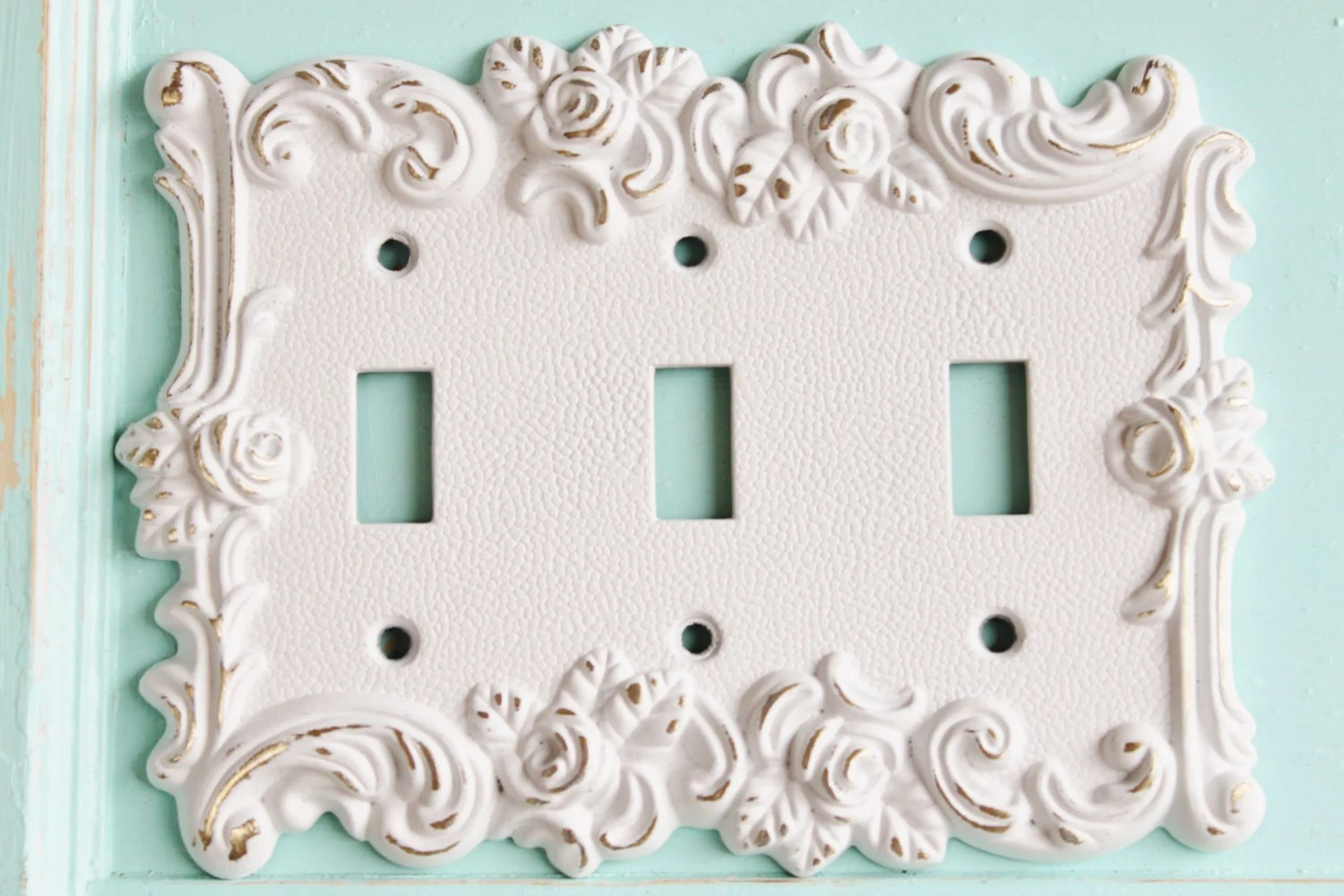 Vintage Light Switch Plate Covers Victorian Antique Vintage Style Rose 3 Toggle Light Switch Cover Triple Light Switch Cover Metal Wall Decor Lighting Outlet Cover