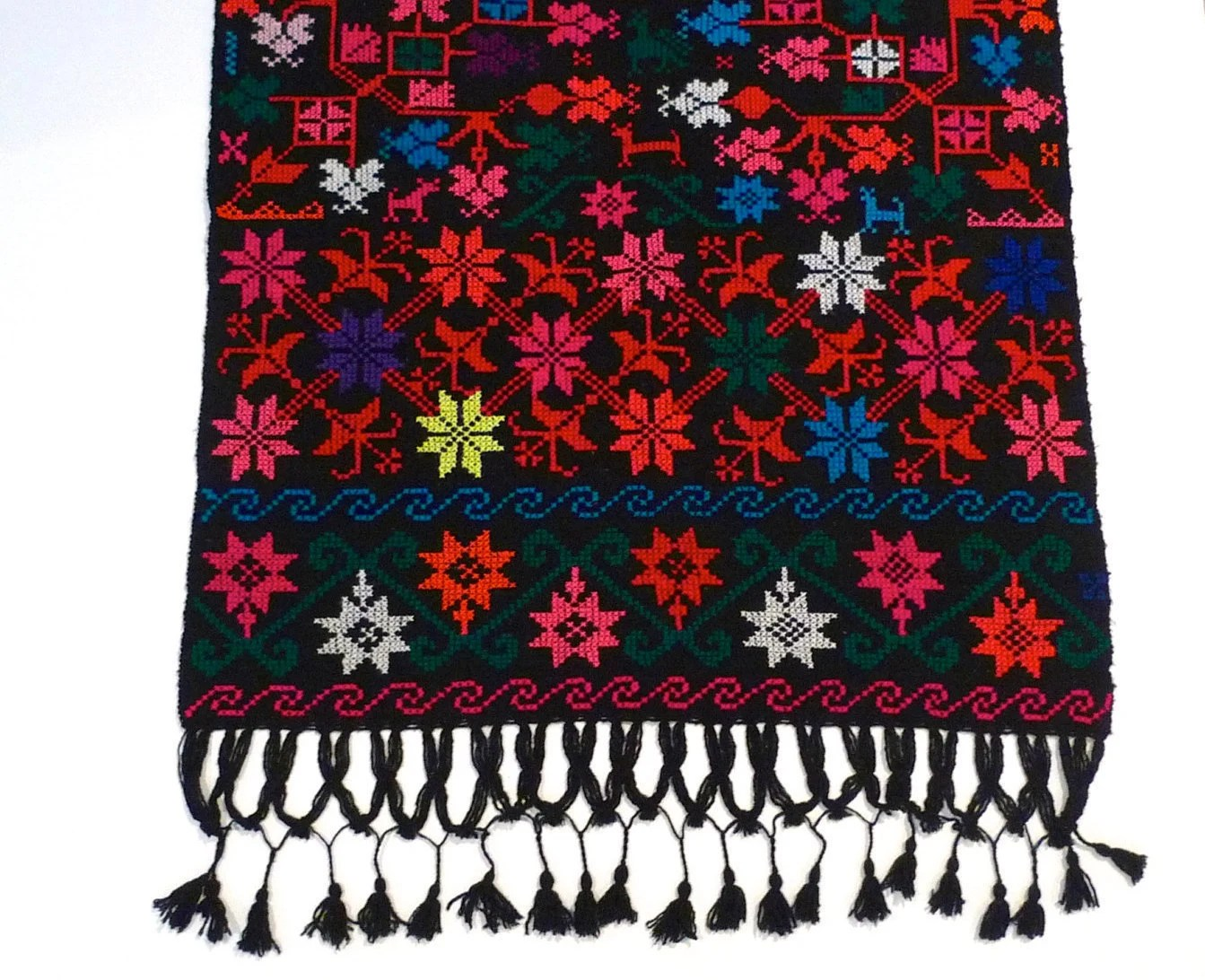 Embroidered Fringed Shawl Vintage Mexican Black Wrap With