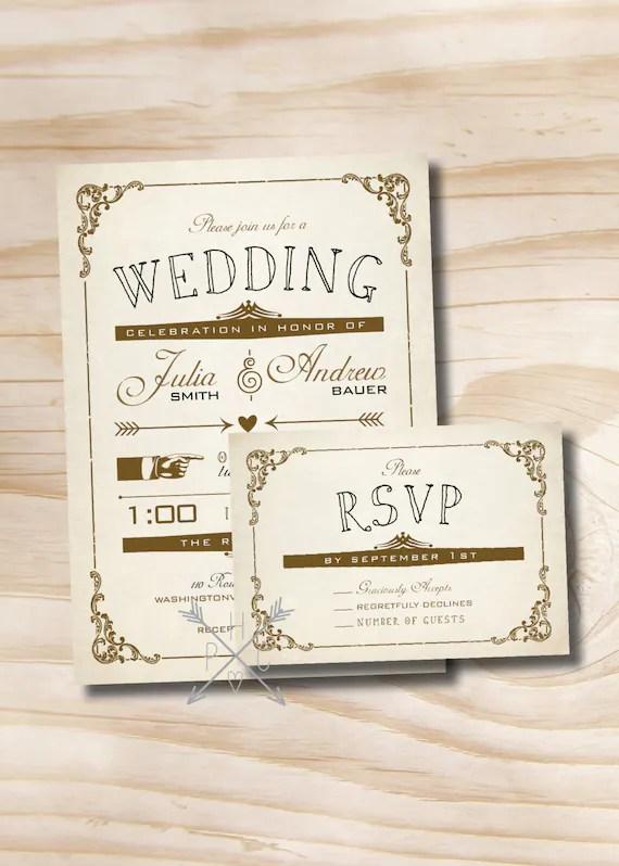 VINTAGE POSTER Style Rustic Wedding Invitation/Response Card