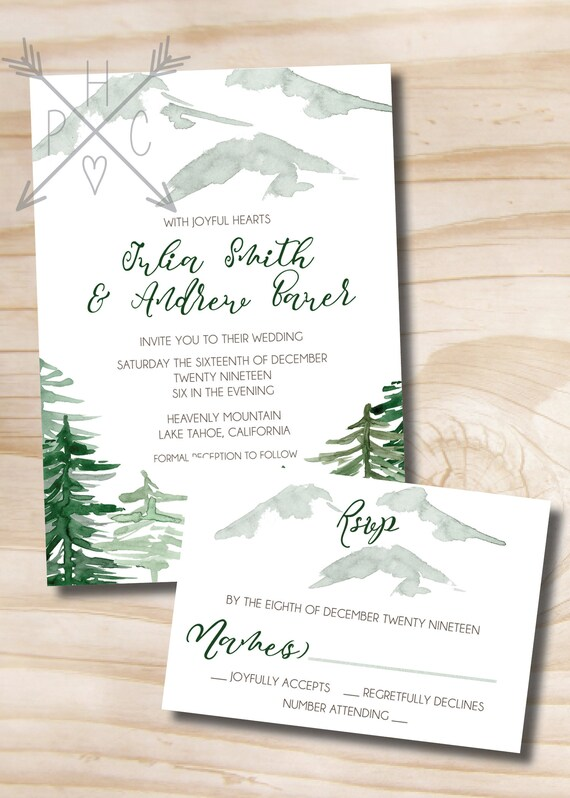 Watercolor Pine Mountain Wedding Invitation Response Card Etsy