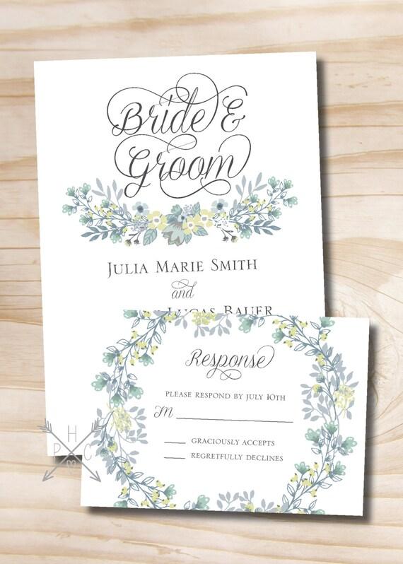 Vintage Floral Wreath Wedding Invitation Response Card Etsy