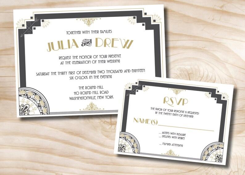 ART DECO GATSBY Wedding Invitation/Response Card Invitation Etsy