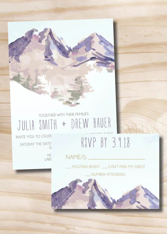 Watercolor Mountain Wedding Invitation Response Card Etsy