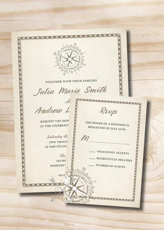 RUSTIC COMPASS Wedding Invitation/Response Card 100 Etsy