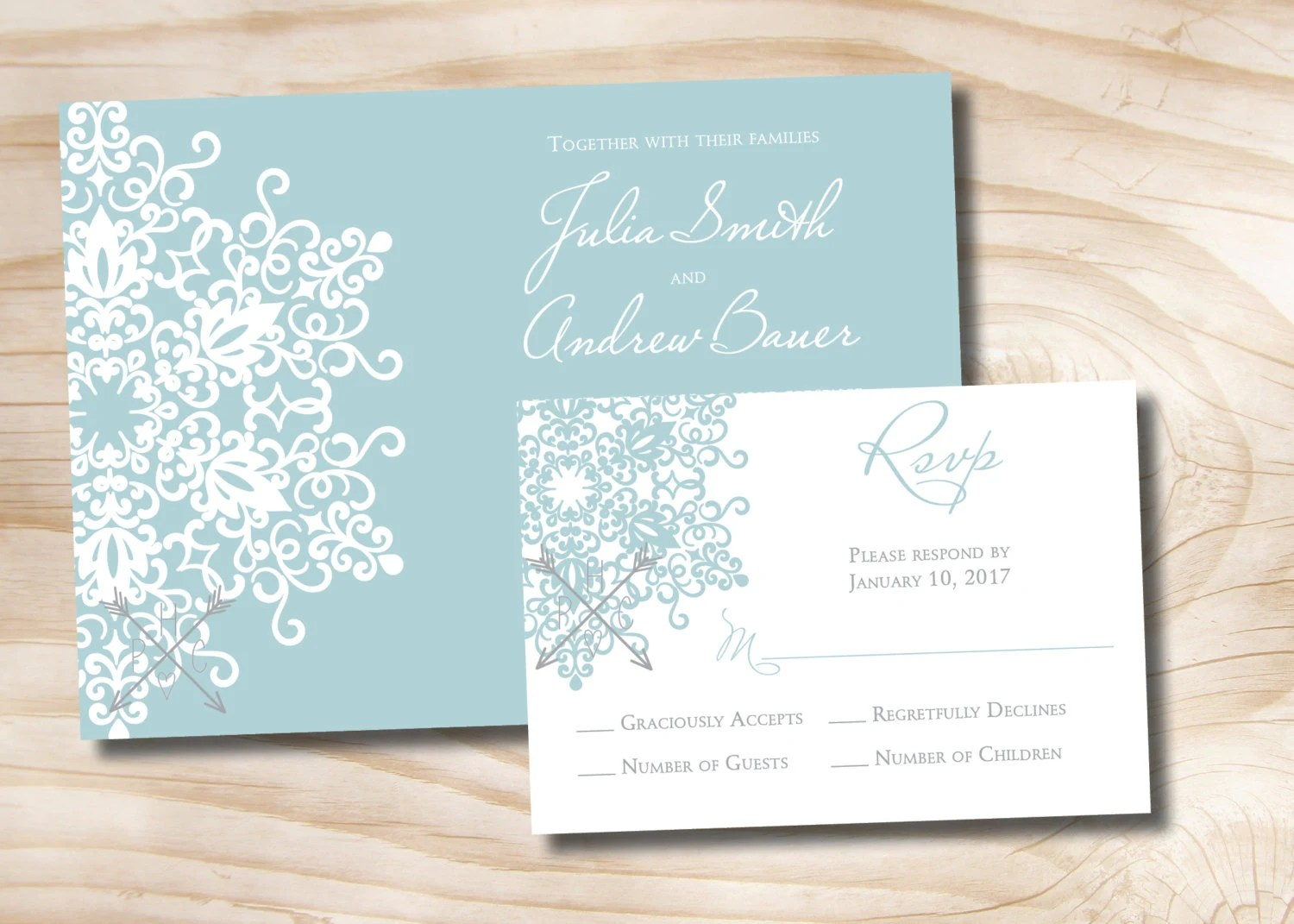 MODERN SNOWFLAKE Wedding Invitation/Response Card Invitation Etsy