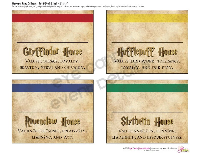 Harry Potter Inspired Hogwarts PRINTABLE Party LABELS Etsy
