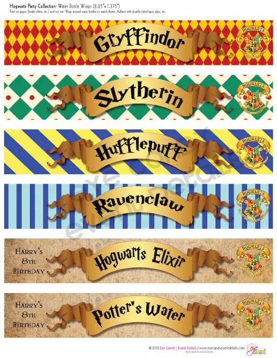 Harry Potter Inspired - Hogwarts PRINTABLE Water Bottle Labels