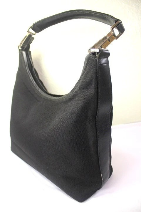 Etsy Vintage Gucci Vintage Gucci Black Nylon Leather Hobo Shoulder Bag Italy