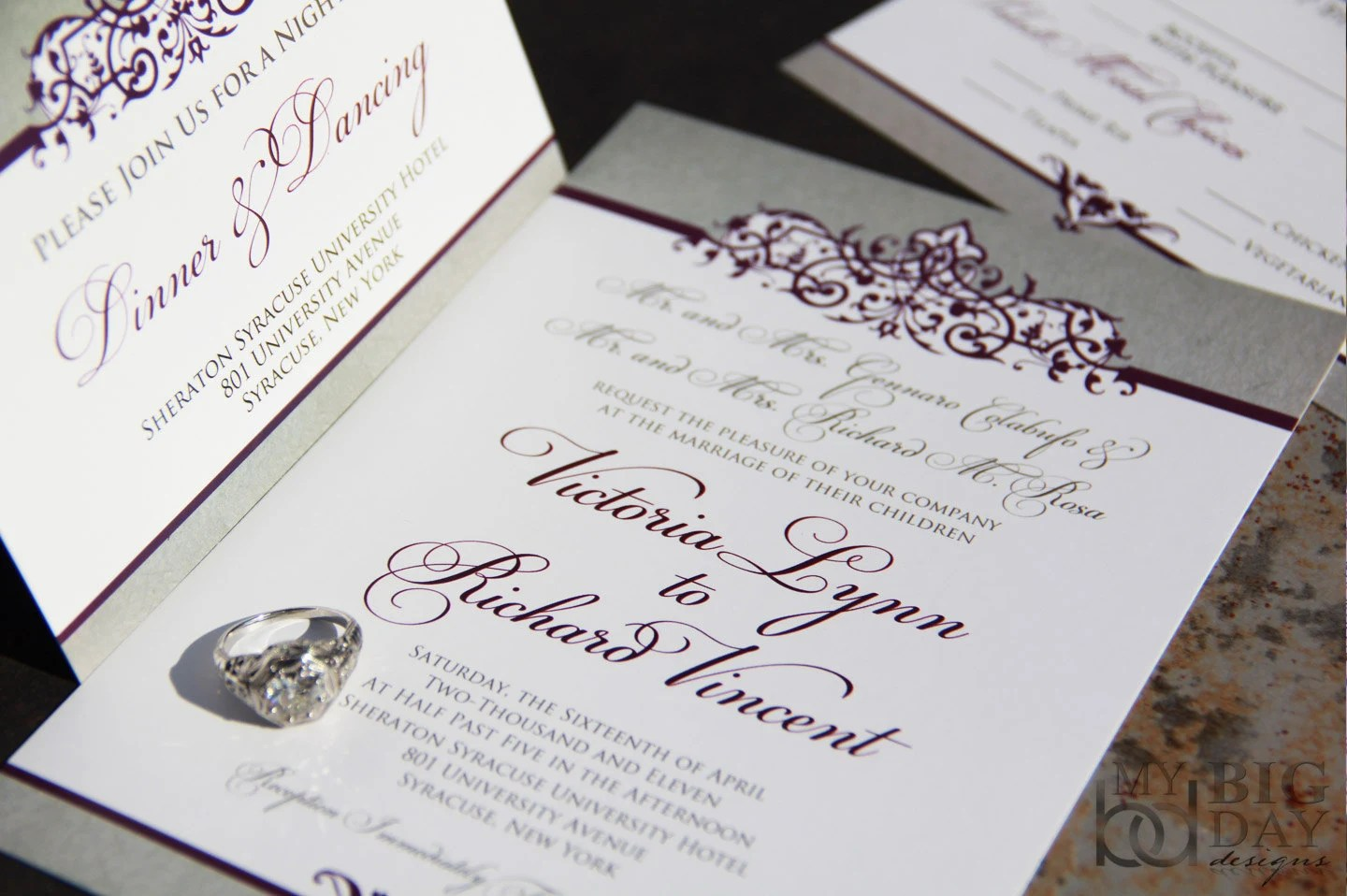 Ornate Scroll Wedding Invitation Suite Sophisticated Style Etsy