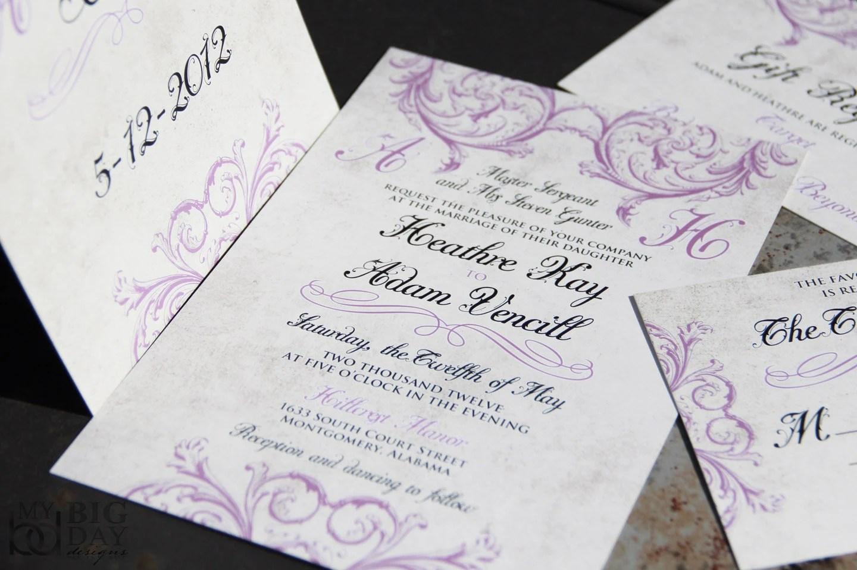 Lavendar scroll Wedding Invitations Vintage Victorian scroll Etsy
