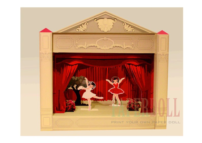 Paper STAGE printable toy paper doll house ballerina Etsy