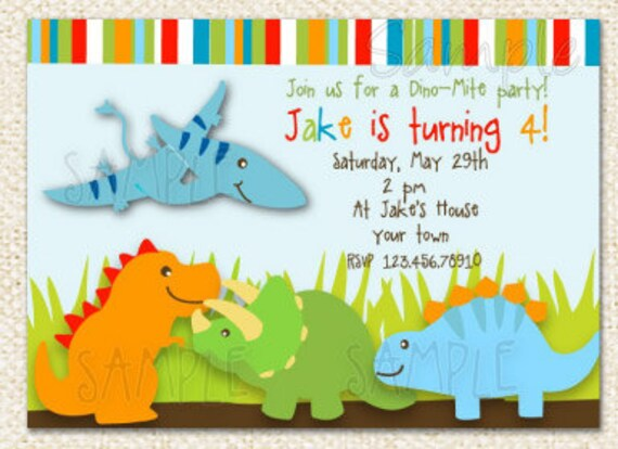 Dinosaur Birthday Invitations Etsy