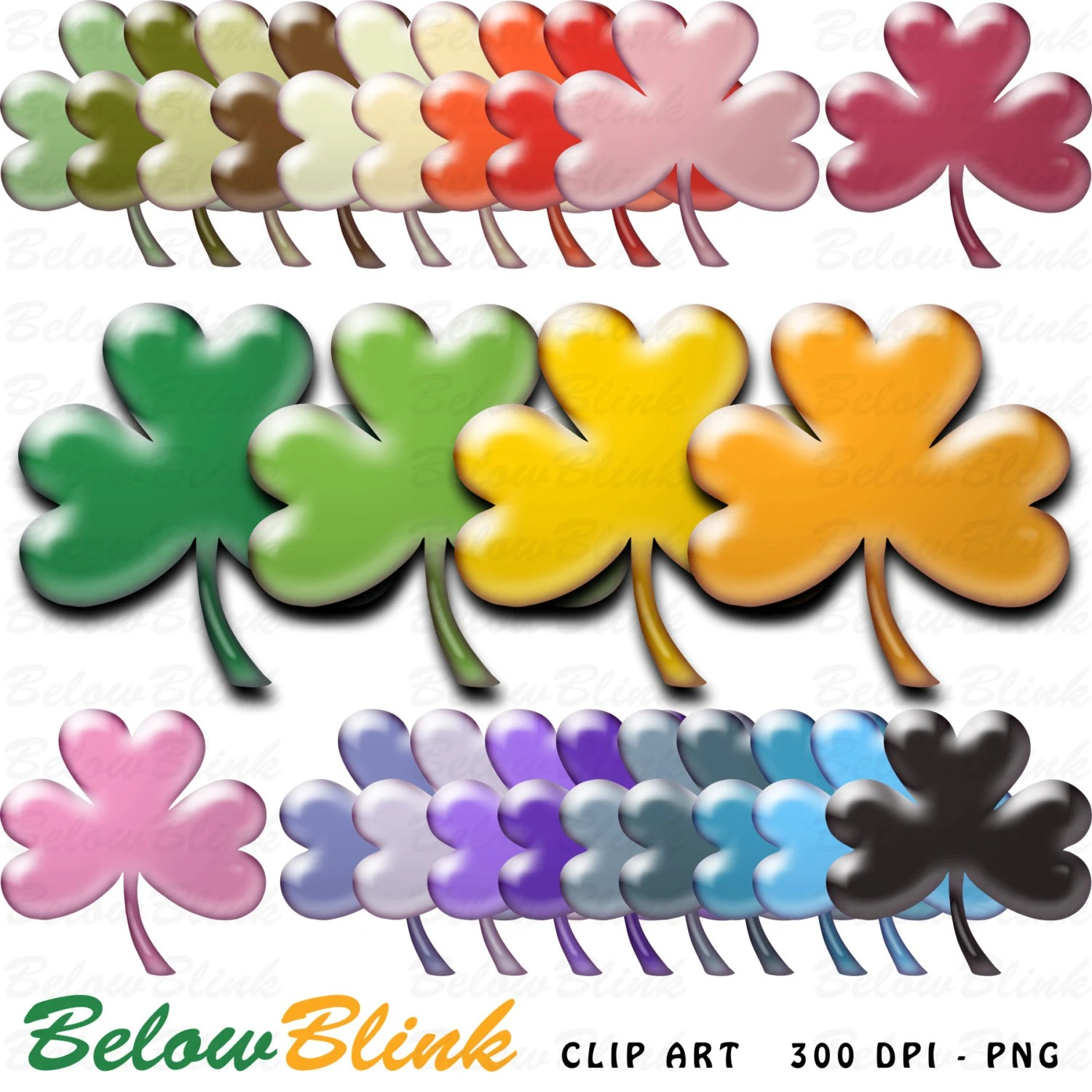 St Patrick\u0027s Day Shamrock Clover Clipart Clip Art Digital Scrapbooking  Commercial Use - printable clipart - Instant Download - DP343