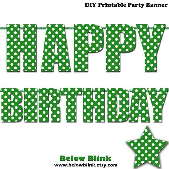 Green Happy Birthday Letter Banner, Green Polka Dots, Photo Prop