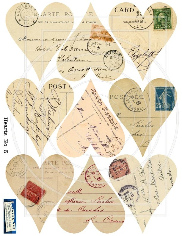 Arte France Adresse Instant Download Hearts No 3 Vintage Postcard Stamps Handwriting Journaling Scrapbooks Mixed Media
