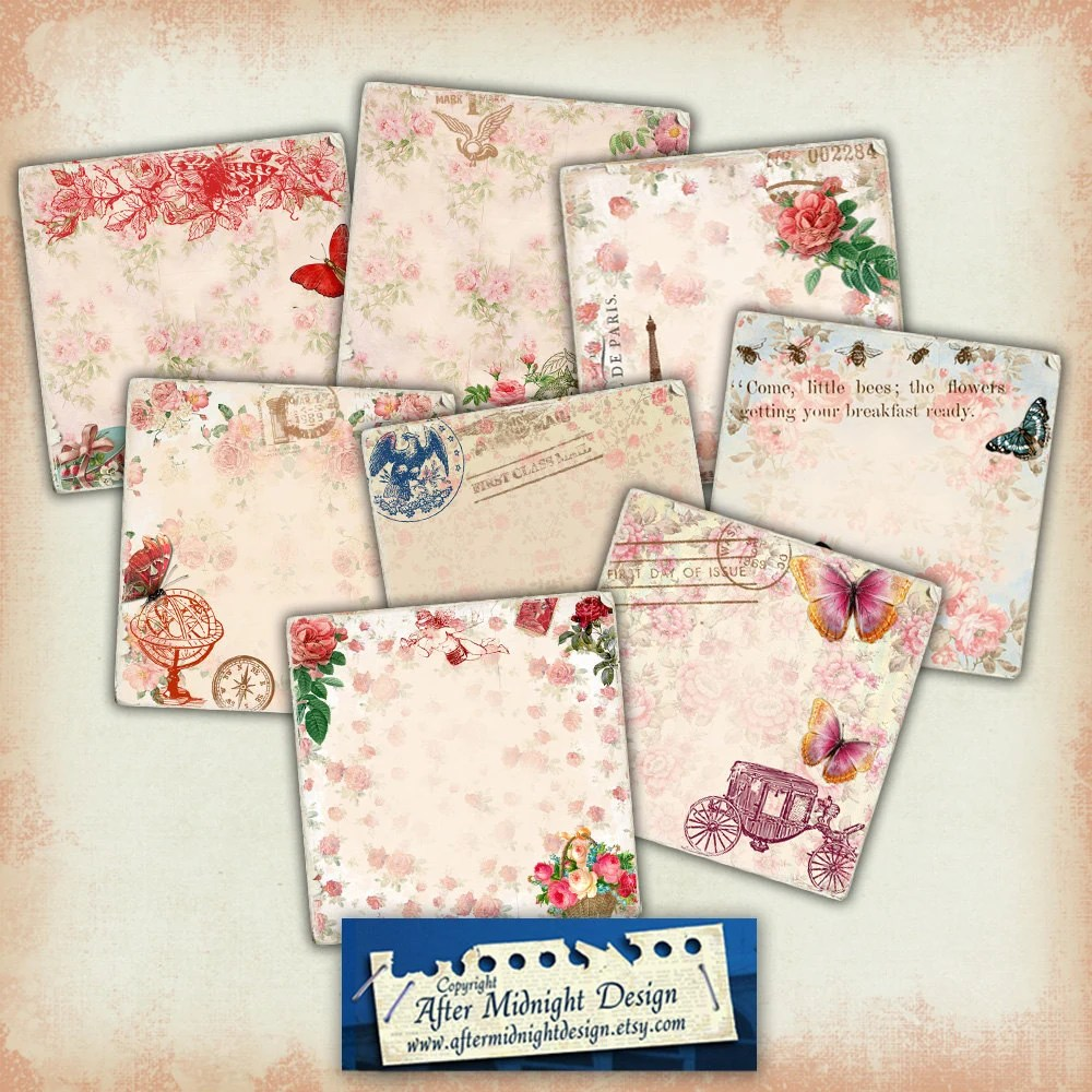 TAGS 115 Vintage Shabby Chic Tags with flowers printable Etsy
