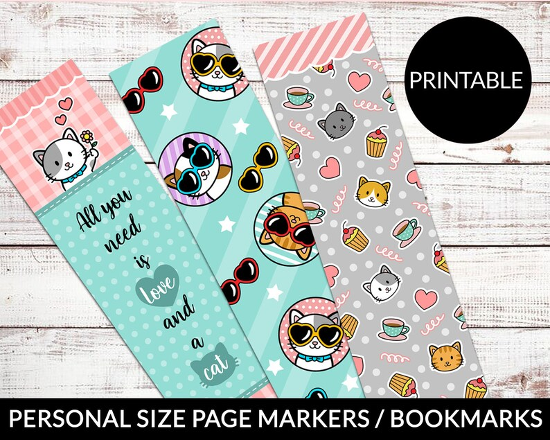 PRINTABLE Page Markers Bookmarks Personal Size Cute Kawaii Etsy