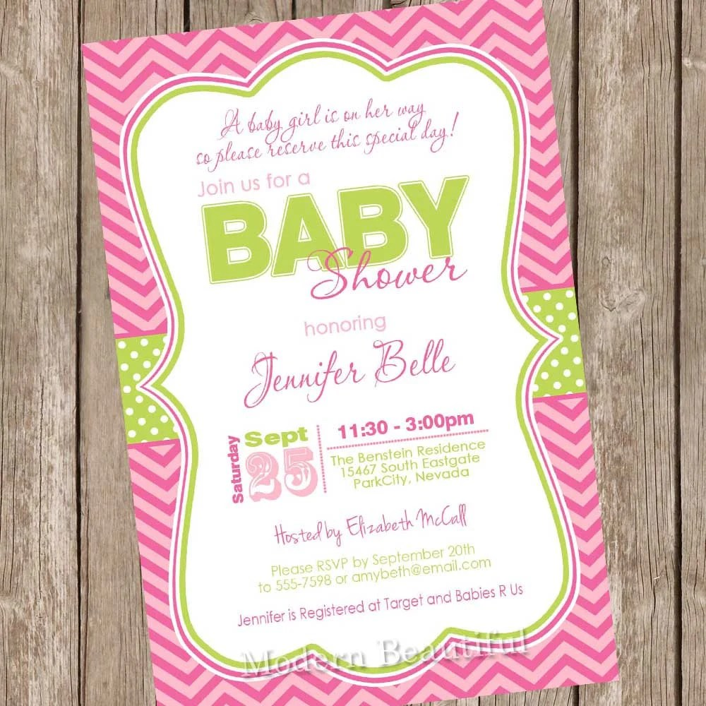 A baby girl is on her way baby shower invitation, pink, green