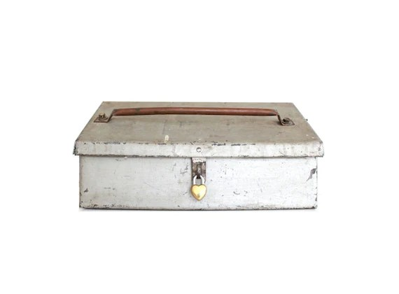 Box Mit Schloss Vintage Metal Box With Lock / Wedding Card Box With Slot