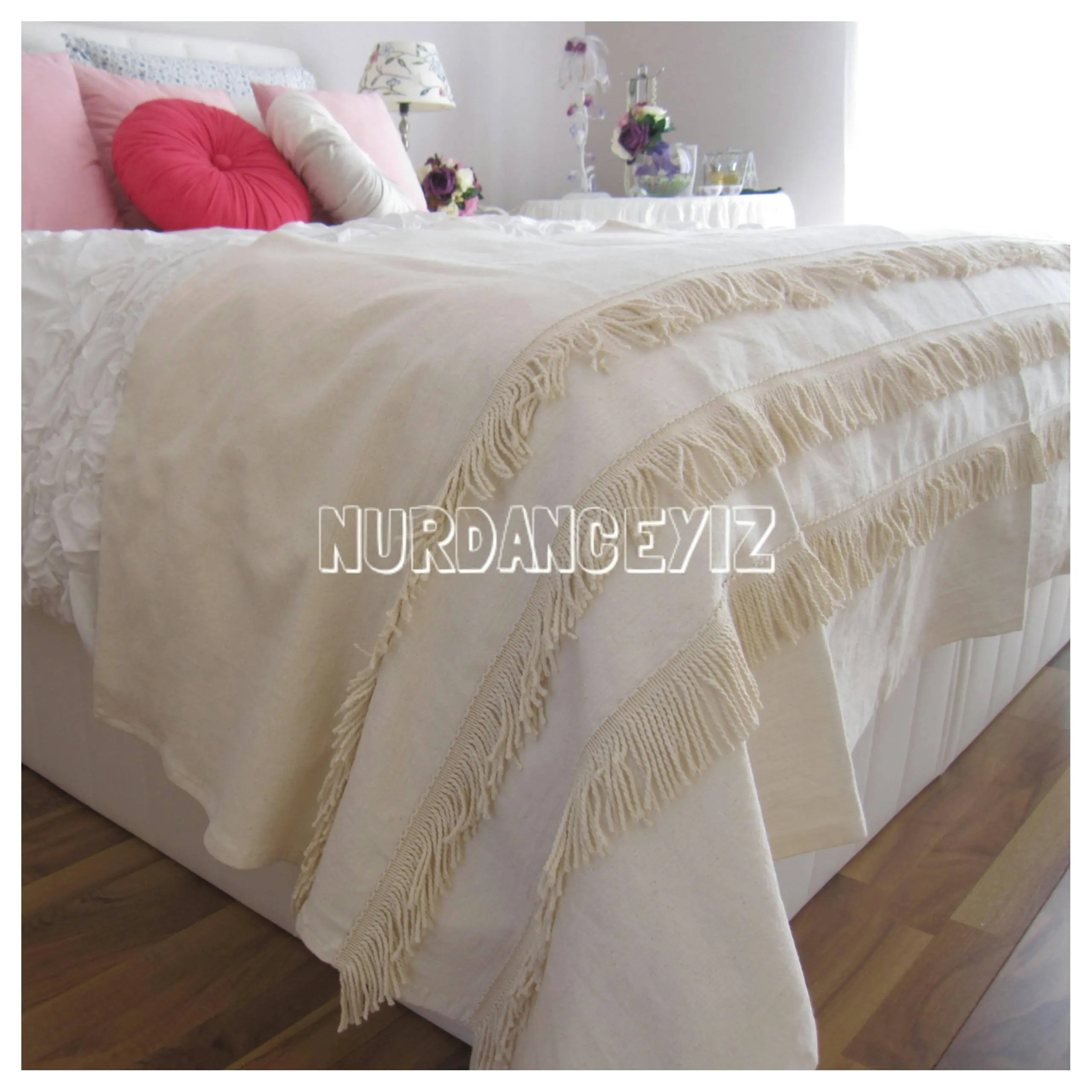 King Size Bed Throws Bohemian Fringe Bed Runner Scarf Cotton Bullion Fringe Trim Queen King Twin Shabby Chic Bedding Scarves Linen Bed Throws Country Cottage