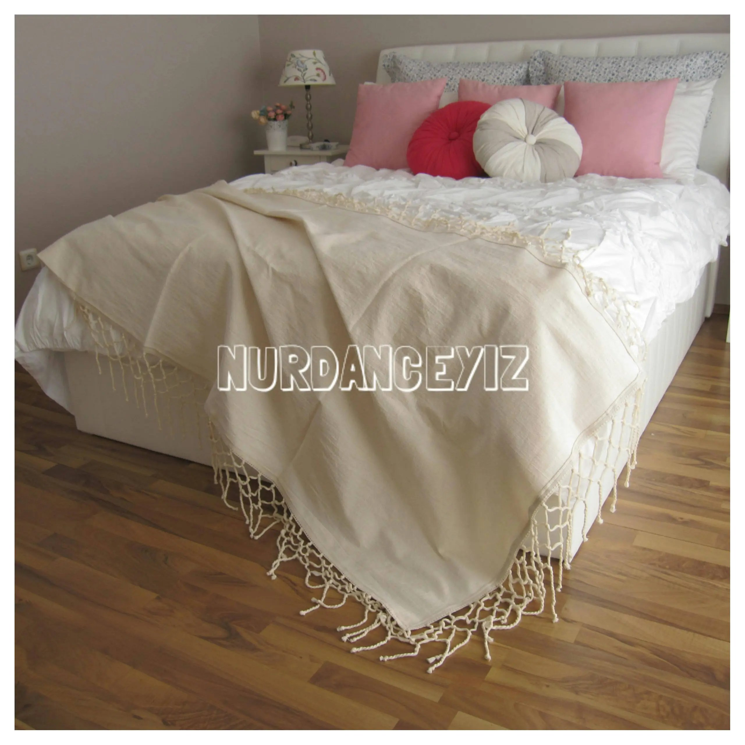 King Size Bed Throws Boho Bed Runner Scarf Cotton Macrame Crochet Fringe Trim Coverlet Bed Throws Queen King Shabby Chic Bedding Linen Blanket Country Cottage