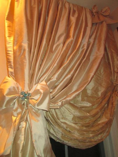 Austrian Curtains Spring Sale Custom Austrian Balloon Shade W Tied Back Panel Or Bishop Sleeve Panel Or Shirred Panel And Austrian Balloon