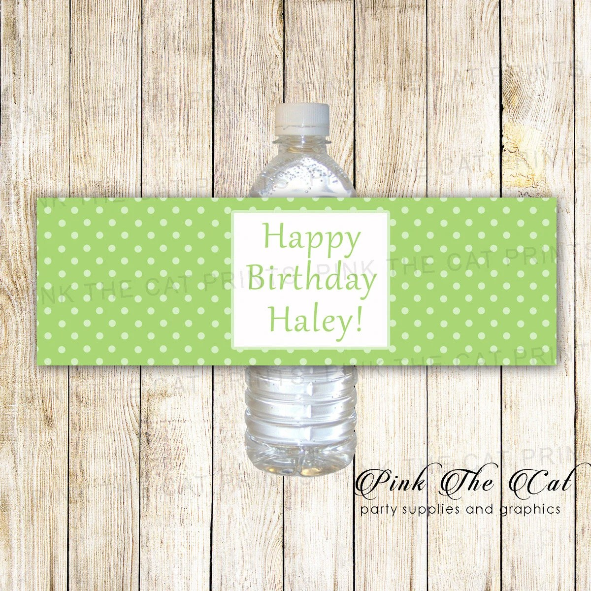 Green polka dot printable personalized water bottle labels Etsy
